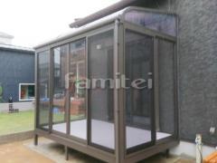 施工例画像:ガーデンルーム LIXILリクシル サニージュ サンルーム R型アール屋根 物干し 網戸(正面・両側面)