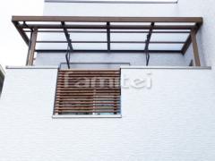 施工例画像:フル木製調ベランダ屋根 LIXILリクシル シュエット 2階用 F型フラット屋根 物干し
