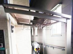 施工例画像:自転車バイク屋根 LIXILリクシル ネスカR 駐輪場屋根 サイクルポート R型アール屋根 特殊加工 斜めカット