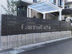 施工例画像:目隠しフェンス塀 F&F マイティウッド Sライン