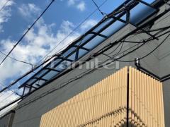 施工例画像:ベランダ屋根 LIXILリクシル スピーネ 3階用 R型アール屋根 物干し