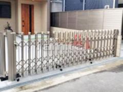 施工例画像:伸縮門扉 LIXILリクシル アルシャインPG型Aタイプ 片開きタイプ アコーディオンゲート