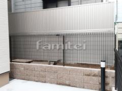 施工例画像:目隠しフェンス塀 LIXILリクシル フェンスAB TM1型 縦目隠し 2段柱 60角