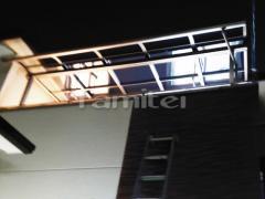 施工例画像:ベランダ屋根 LIXILリクシル パワーアルファRB 2階用 積雪30cm対応 R型アール屋根 物干し