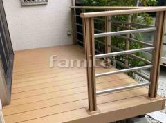 施工例画像:人工木材ウッドデッキ LIXILリクシル 樹ら楽ステージ(きらら) 樹脂 階段ステップ デッキフェンス 横ビームパネル