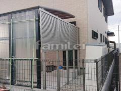 施工例画像:目隠しフェンス塀 LIXILリクシル AB YL3型 横ルーバー3 2段柱 上段のみ