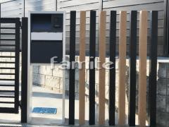 施工例画像:機能門柱 Panasonicパナソニック アーキフレームF 郵便受けポスト フェイサスNFR デザインアルミ角柱 プランパーツ 角材