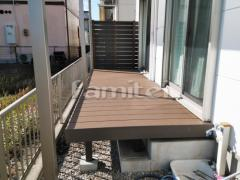 施工例画像:人工木材ウッドデッキ LIXILリクシル 樹ら楽ステージ(きらら) 樹脂 目隠しフェンス塀 F&F マイティウッド