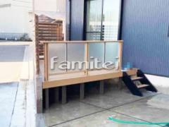 施工例画像:木製調 目隠しフェンス塀 LIXILリクシル フェンスAA YS3型 デッキフェンス プライバシーパネル