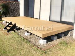施工例画像:人工木材ウッドデッキ LIXILリクシル 樹ら楽ステージ(きらら) 樹脂 階段ステップ(2段) 既存デッキ解体撤去