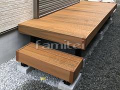 施工例画像:段差ステップ1段 バラス砕石 防草シート加工