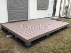 施工例画像:人工木材ウッドデッキ LIXILリクシル 樹ら楽ステージ(きらら) 樹脂 防草シート加工