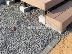 施工例画像:見切り材 ピンコロ石 防草シート加工 マサ土