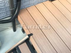 施工例画像:人工木ウッドデッキ 雨除け屋根 目隠しフェンス塀