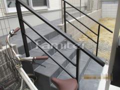 施工例画像:玄関アプローチ階段 床タイル貼り LIXILリクシル グレイスランド300角 玄関ポーチ手摺り(手すり) アーキレール笠木