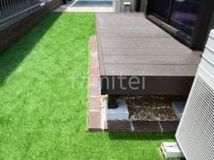施工例画像:人工木材ウッドデッキ LIXILリクシル デッキDS 樹脂 お庭 人工芝 防草シート加工