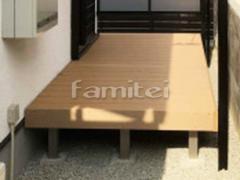 施工例画像:人工木材ウッドデッキ LIXILリクシル 樹ら楽ステージ(きらら) 樹脂 御所砕石 防草シート加工