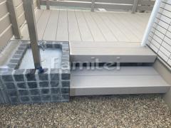 施工例画像:階段ステップ 段床セット 立水栓 ユニソン スプレスタンド 蛇口2個 ピンコロ囲い モルタル仕上げ洗い場