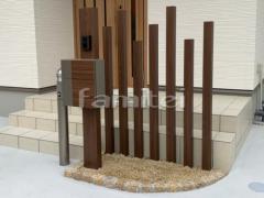 施工例画像:デザインアルミ角柱 デザイナーズパーツ 枕木材