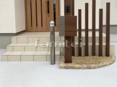 施工例画像:玄関前アプローチ 床タイル貼り LIXILリクシル グレイスランド300角