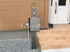 施工例画像:機能門柱 LIXILリクシル アクシィ1型 ガラスサインLED照明