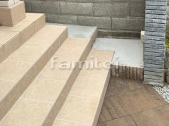 施工例画像:玄関前アプローチ タイルデッキ LIXILリクシル グレイスランド300角