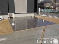 施工例画像:玄関アプローチ階段 床タイル貼り LIXILリクシル マルモアート300角 MA-12