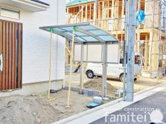 施工例画像:自転車バイク屋根 YKKAP レイナポートグランミニ 駐輪場屋根 サイクルポート R型アール屋根 目隠しパネル(側面 サイド)1段