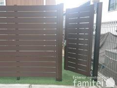 施工例画像:目隠しフェンス塀 F&F マイティウッド カーポート YKKエフルージュ横2台