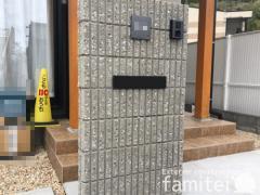 施工例画像:門柱 ユニソン リブスプリット エクステリアポストG3型
