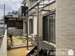 施工例画像:雨除け屋根 LIXILスピーネ ウッドデッキ