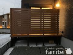 施工例画像:目隠しフェンス塀 F&Fマイティウッド YKK人工木 リウッド