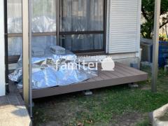 施工例画像:雨除け屋根 YKKソラリア ウッドデッキ LIXIL樹ら楽ステージ