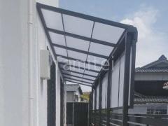 施工例画像:雨除け屋根 LIXILスピーネ 物置移設