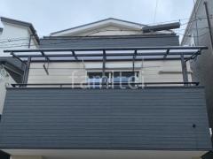 施工例画像:2階ベランダ屋根 連棟 LIXIL スピーネR 物干し(標準吊下げ)