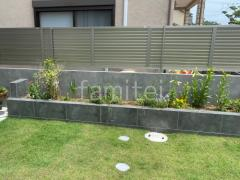 施工例画像:境界塀 タイル貼り タカショーセラレバンテ グレー