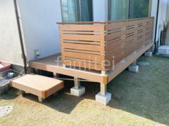 施工例画像:雨除け屋根 LIXIL独立式フーゴFテラス 人工木ウッドデッキ