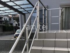 施工例画像:玄関アプローチ階段 手摺りパルトナーUD-2