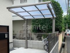施工例画像:カーポート サイクルポート フル木製調テラス屋根