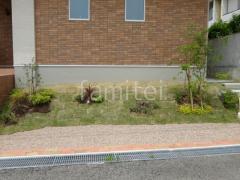 施工例画像:法面 芝生張り 姫高麗芝