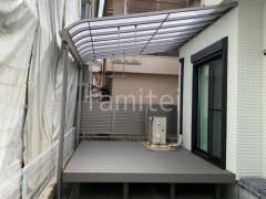 施工例画像:LIXIL 1階テラス屋根 スピーネR 人工木デッキ 樹ら楽ステージ