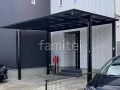 施工例画像:本体色 ブラック  屋根材 熱線遮断ポリカーボネート 屋根色ブルーマットS