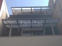 施工例画像:2階3階ベランダ屋根 LIXILスピーネF 1階テラス屋根 YKKソラリアF