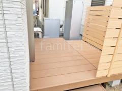 施工例画像:人工木ウッドデッキ 目隠しフェンス塀
