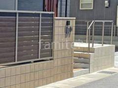 施工例画像:化粧ブロック門柱 ユニソン リゲル