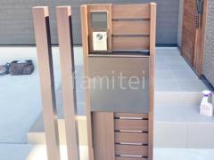 施工例画像:機能門柱 YKKAP 木製調ルシアスポストユニットBW03型 木製調デザインアルミ角柱 プランパーツ 角材